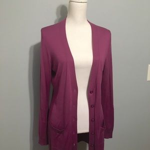 Ann Taylor Large Berry Long Cardigan